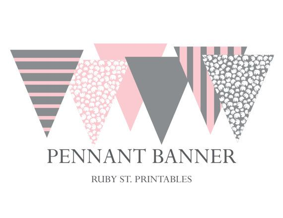 Printable Pennant Banner Girl Baby Shower By Rubystreetprintables