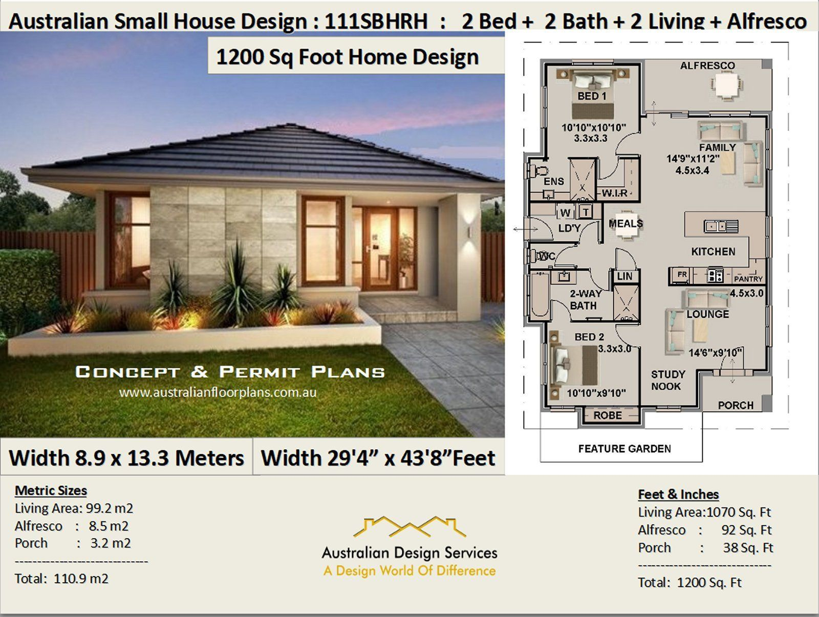 1200 Sq Foot House Plan Or 110 9 M2 2 Bedroom 2 Etsy Modern House Plans 1200 Sq Ft House Small House Design