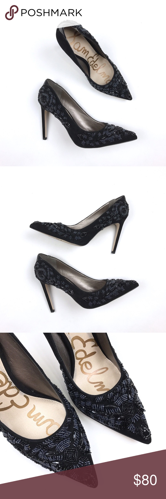 627e635ff99900 Sam Edelman Dani Black Beaded Pointed Pump New in box Shows minor signs of  wear from in store handling on display and in box. One stone missing at  very tip ...