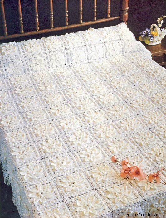 Delicadezas en crochet Gabriela: Cubre cama de ensueño