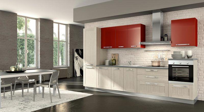 cuisine-rouge-grise-armoires-rouges-bois-blanchièpeinture-murale - Photo Cuisine Rouge Et Grise