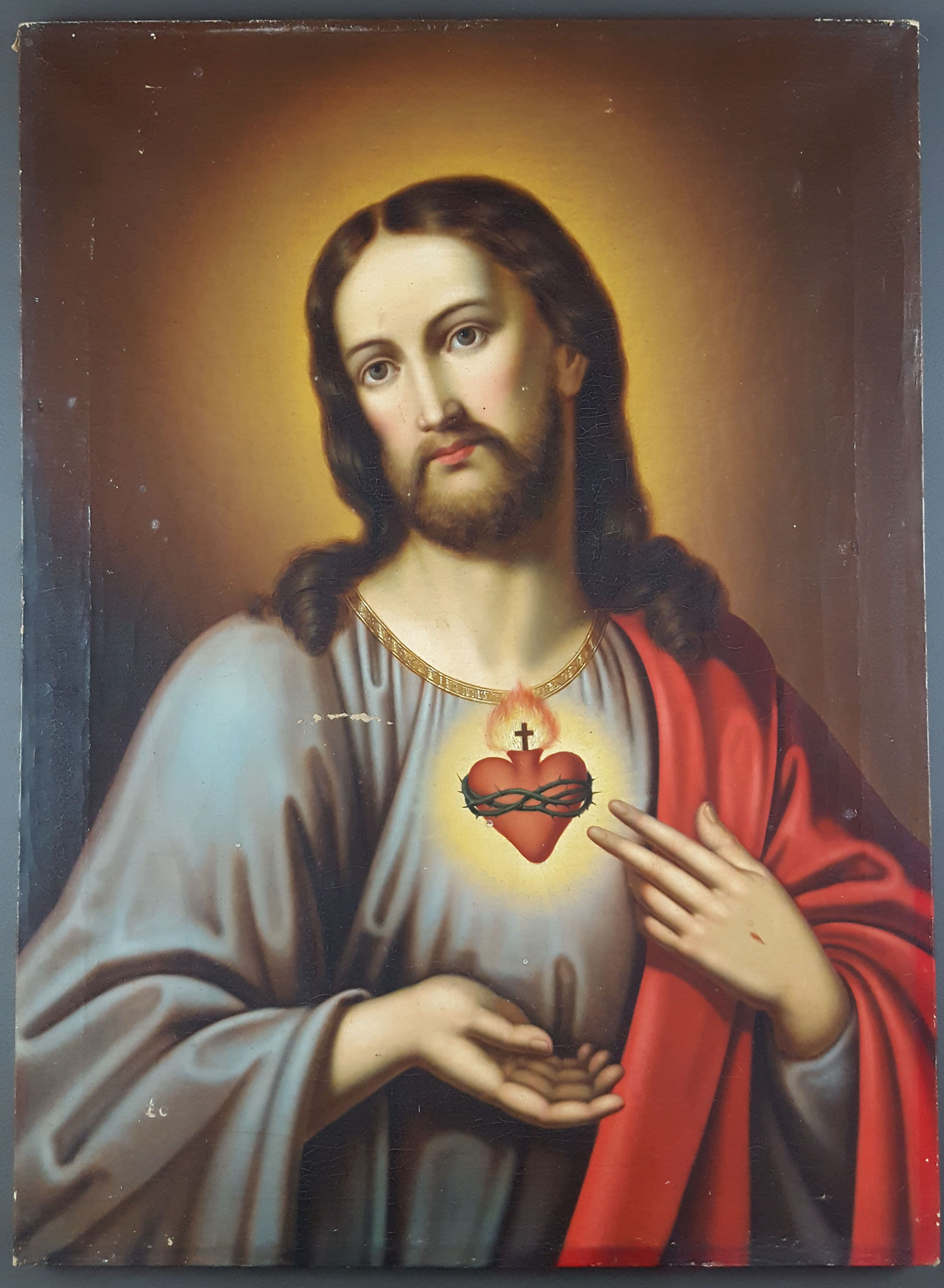Artmeo The Sacred Heart Of Jesus 19th Century Oil On Canvas Unsigned Network Of Crackling All Ov Pictures Of Jesus Christ Jesus Pictures Heart Of Jesus