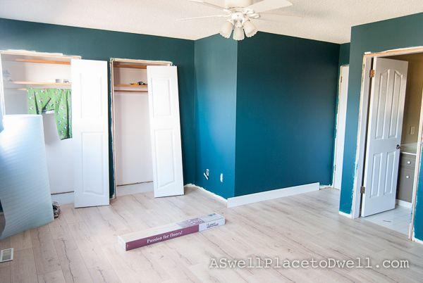 Master Bedroom Progress Benjamin Moore Dark Harbor In Aura Painted Floors Master Bedroom Colors Dark Harbor