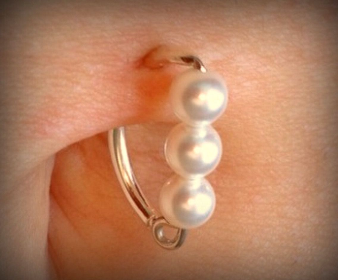 4 belly button piercing  SALE  OFF with MAROFF  NEW g Swarovski mm Pearl by ZenGem