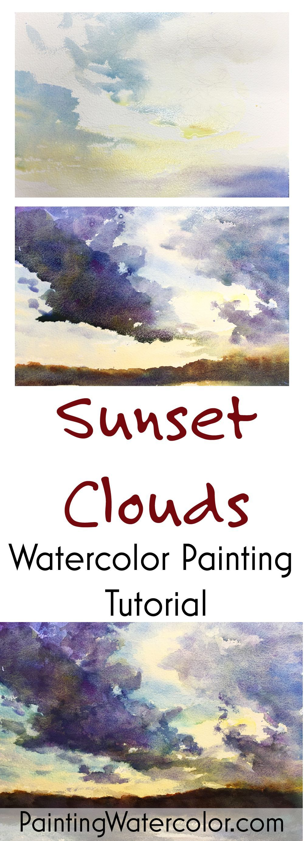 Sunset Clouds watercolor painting tutorial by Jennifer Branch #watercolorarts