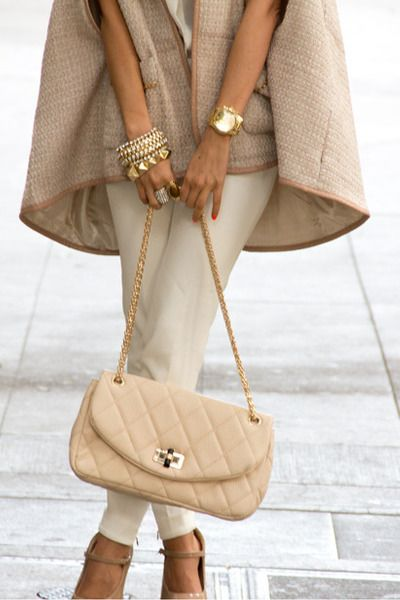 "one word "" sophistication"" ok , then maybe two "" classy"" ticks all the boxes ! Just love the mixture of textures , layering and my favorite shades. Gold bracelets needed :)"