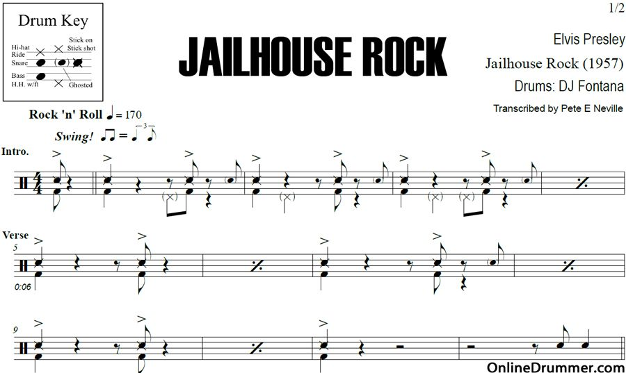 Jailhouse Rock - Elvis Presley - Drum Sheet Music #drums ...