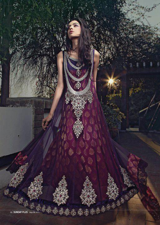Dark purple bridal dress chinese pakistani american for Dark purple dress for wedding