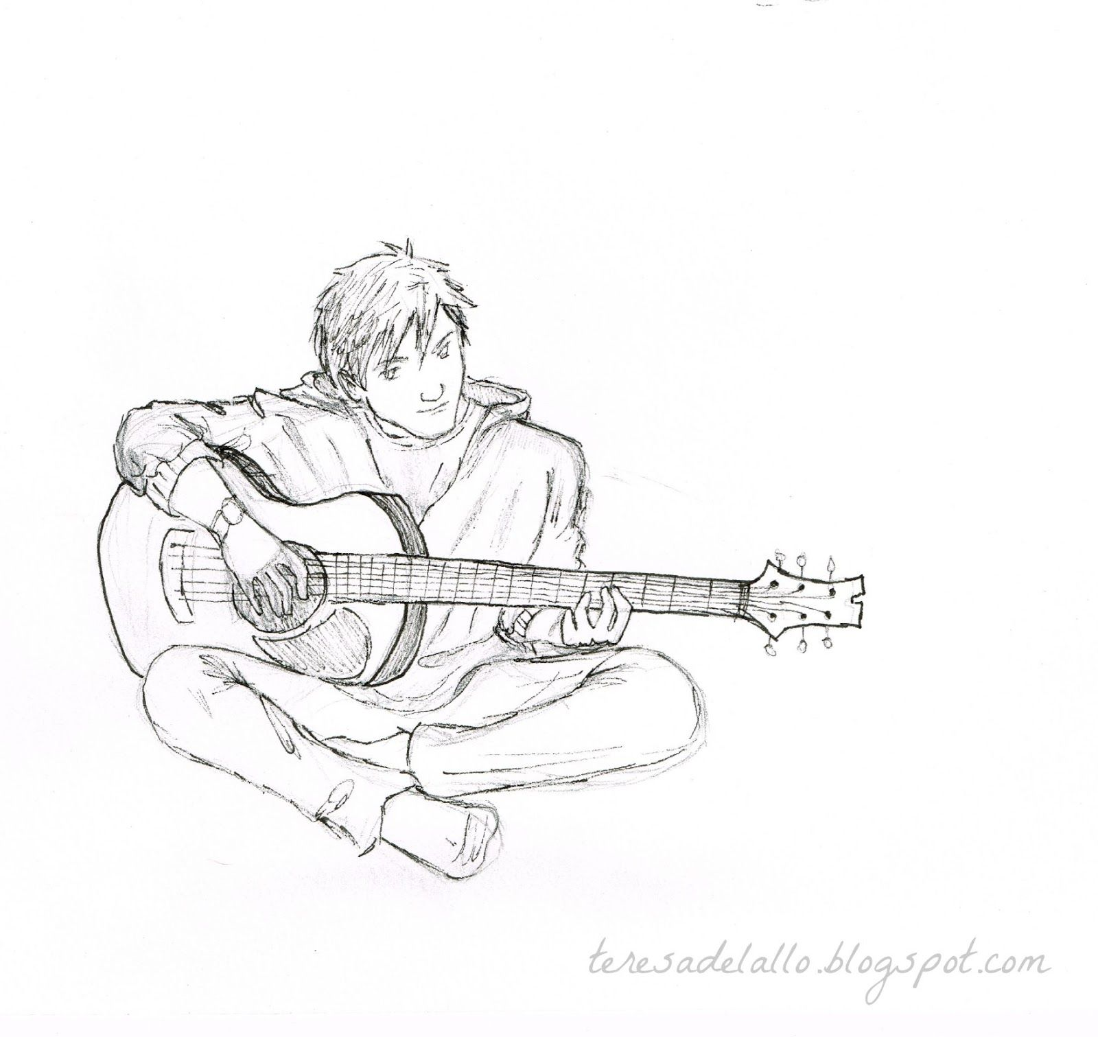 Resultado De Imagem Para Boy Playing Guitar Drawing