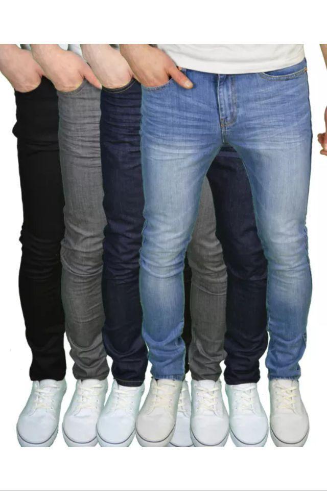 MENS DENIM SUPER STRETCH SKINNY SLIM FIT JEANS ALL WAIST /& LEG SIZES