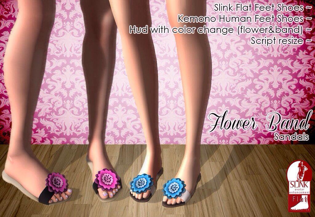 Flower band original mesh for slink flat feet and kemono human feet
