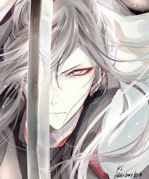 Anime boy with white hair and yellow eyes and sword ...