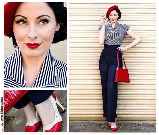 Bettie Page Clothing All Abourd Blouse, Collectif Clothing Franky Swing Trousers, Retrolicious 50s Scarlet Hand Bag - French Sailor - Ava El...