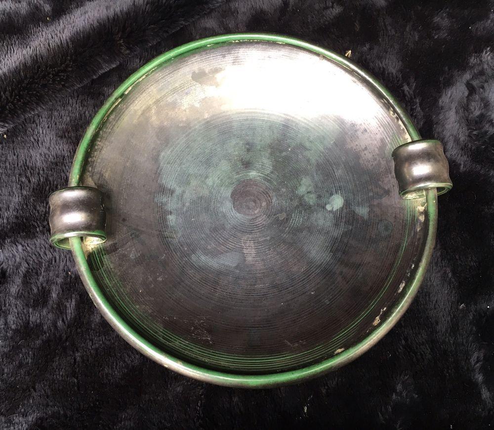 Interesting Art Deco Raku Pottery Two Handled Serving Platter with Beehive Mark  | eBay