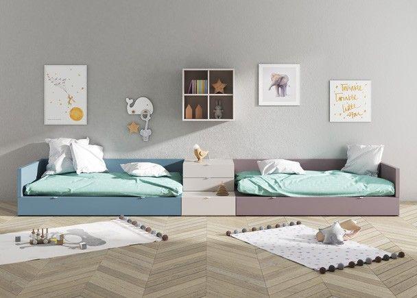 Habitaci n infantil con dos camas modulares con arrastre - Habitacion infantil cama nido ...