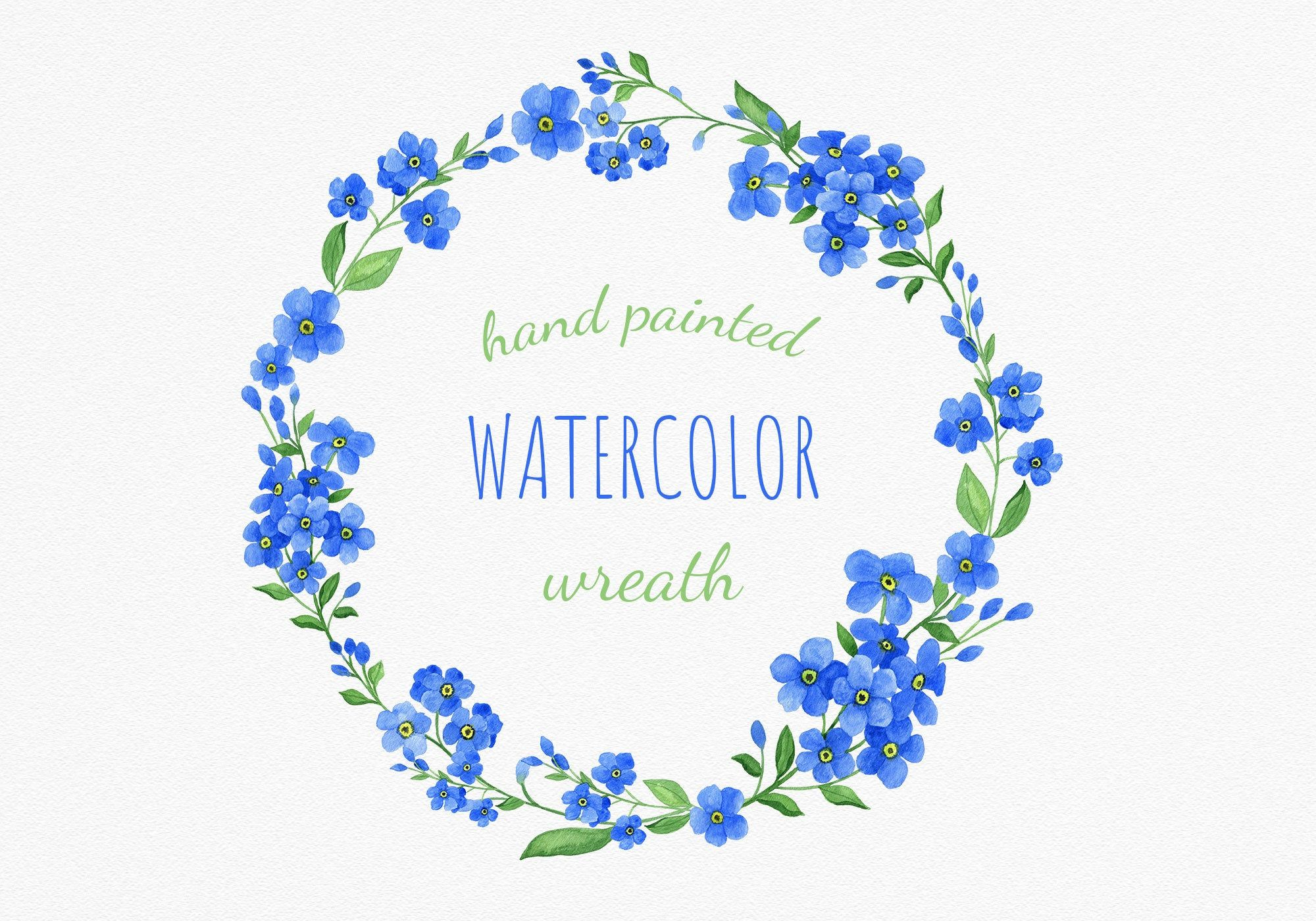 Hand Painted Blue Watercolor Wreath Clipart Summer Flowers Etsy Wreath Watercolor Watercolor Flower Wreath Wreath Clip Art