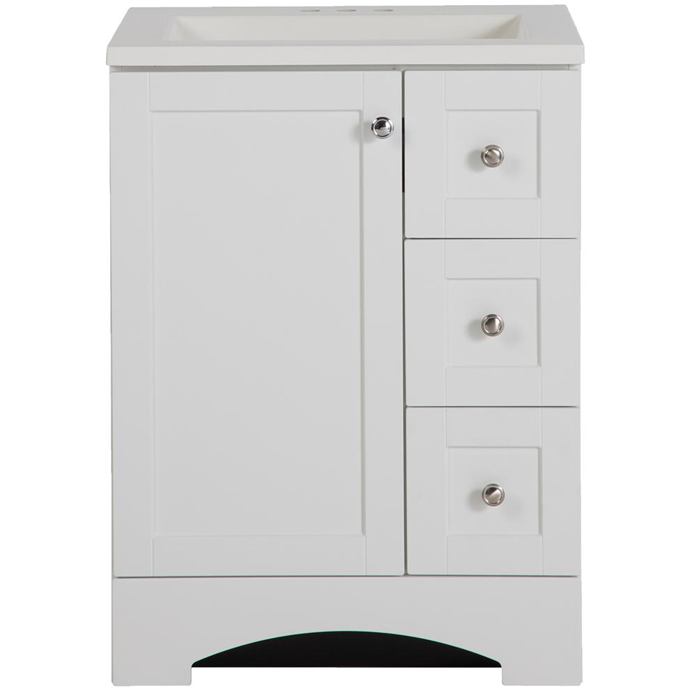 Glacier Bay Lancaster 24 In Vanity And Vanity Top In White With White Basin White Vanity Bathroom Home Depot Bathroom Best Bathroom Vanities