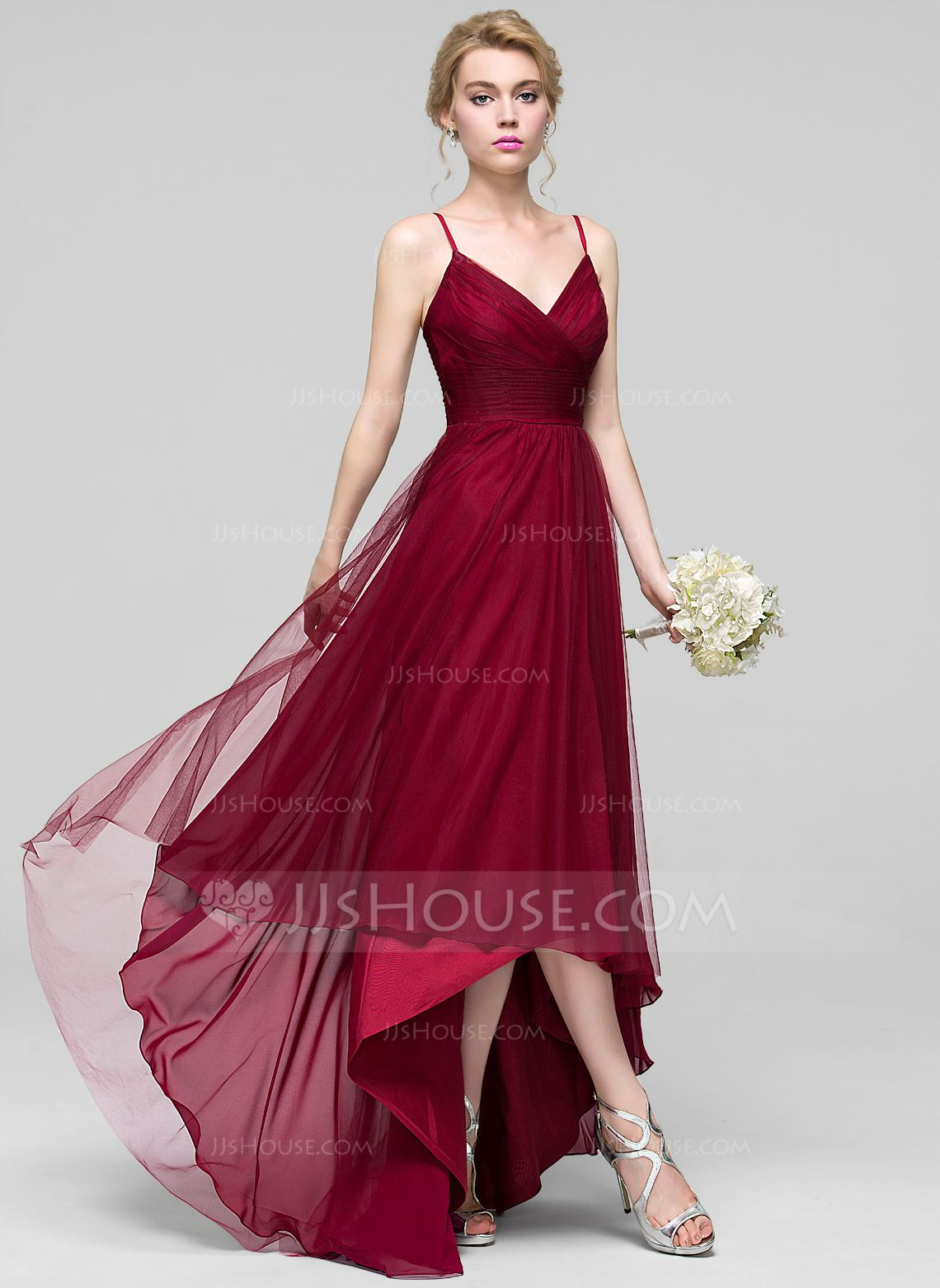 b3bddc01cbd A-Line Princess V-neck Asymmetrical Tulle Bridesmaid Dress With Ruffle  (007090206) - Bridesmaid Dresses - JJsHouse
