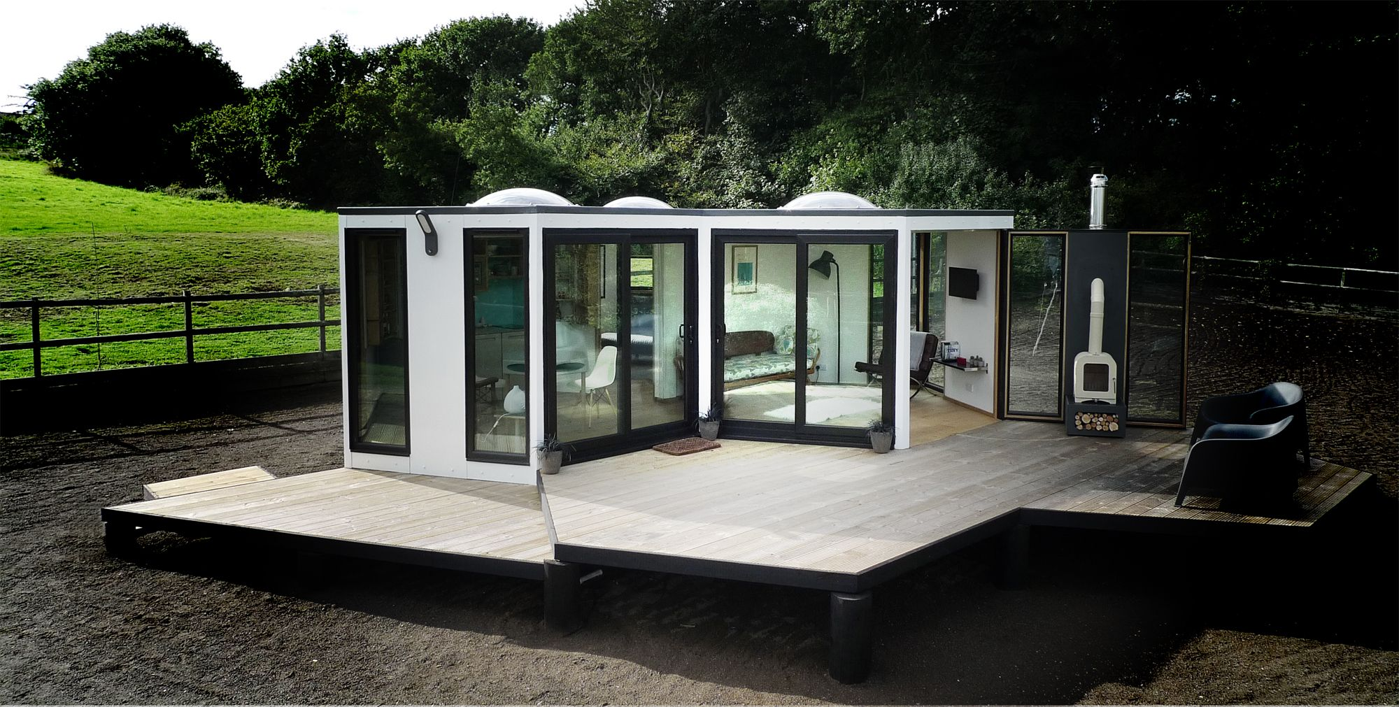 Swingout Walls, Even With Heavy Architectural Components (woodstove)  Hivehaus » Modular Living Space