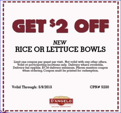 picture relating to D Angelo Coupons Printable referred to as $2 off at DAngelos Specials and Savings Coupon codes