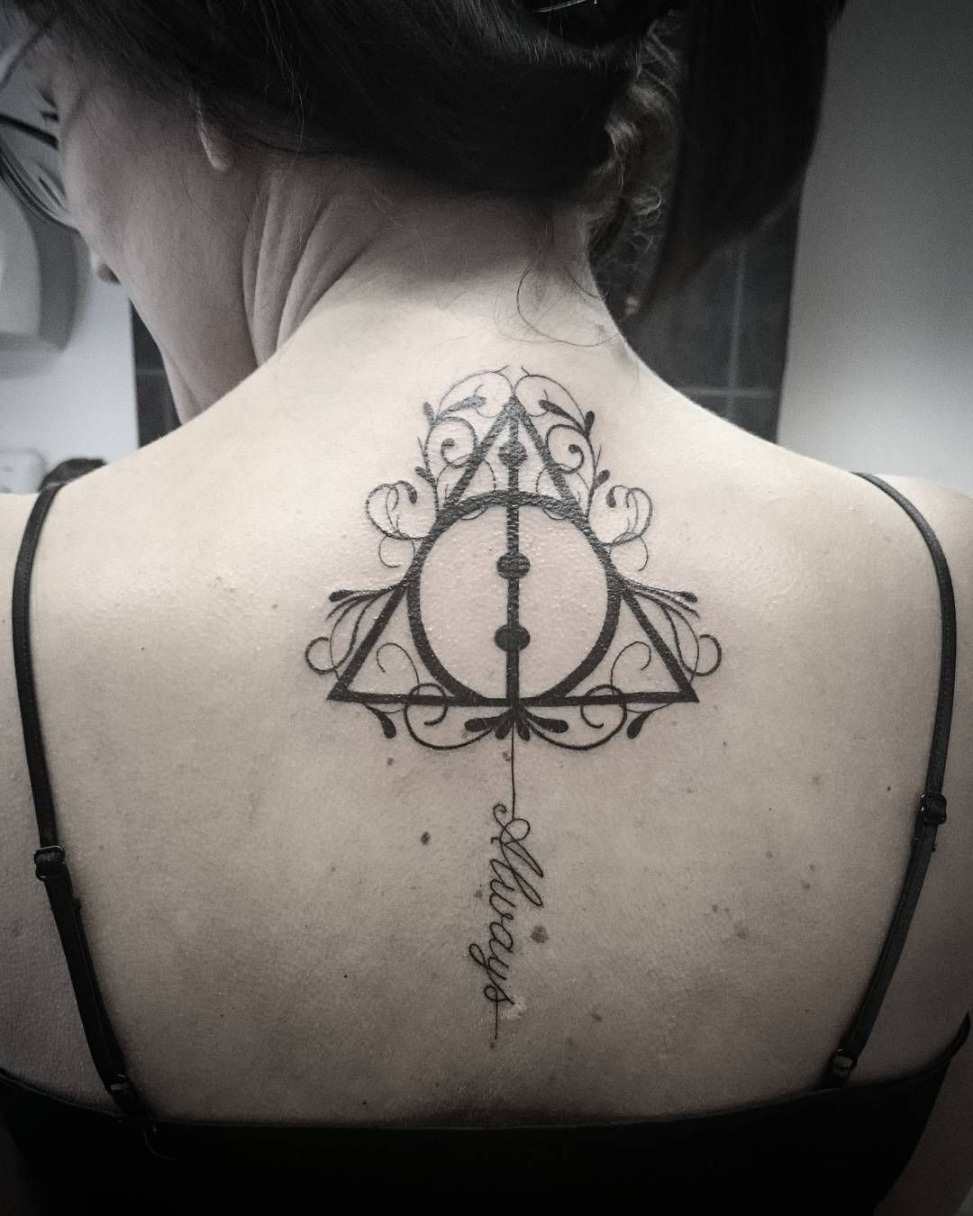 9e1a377ad Always Deathly Hallows Tattoo On Girl Back - CreativeFan | Tattoos ...