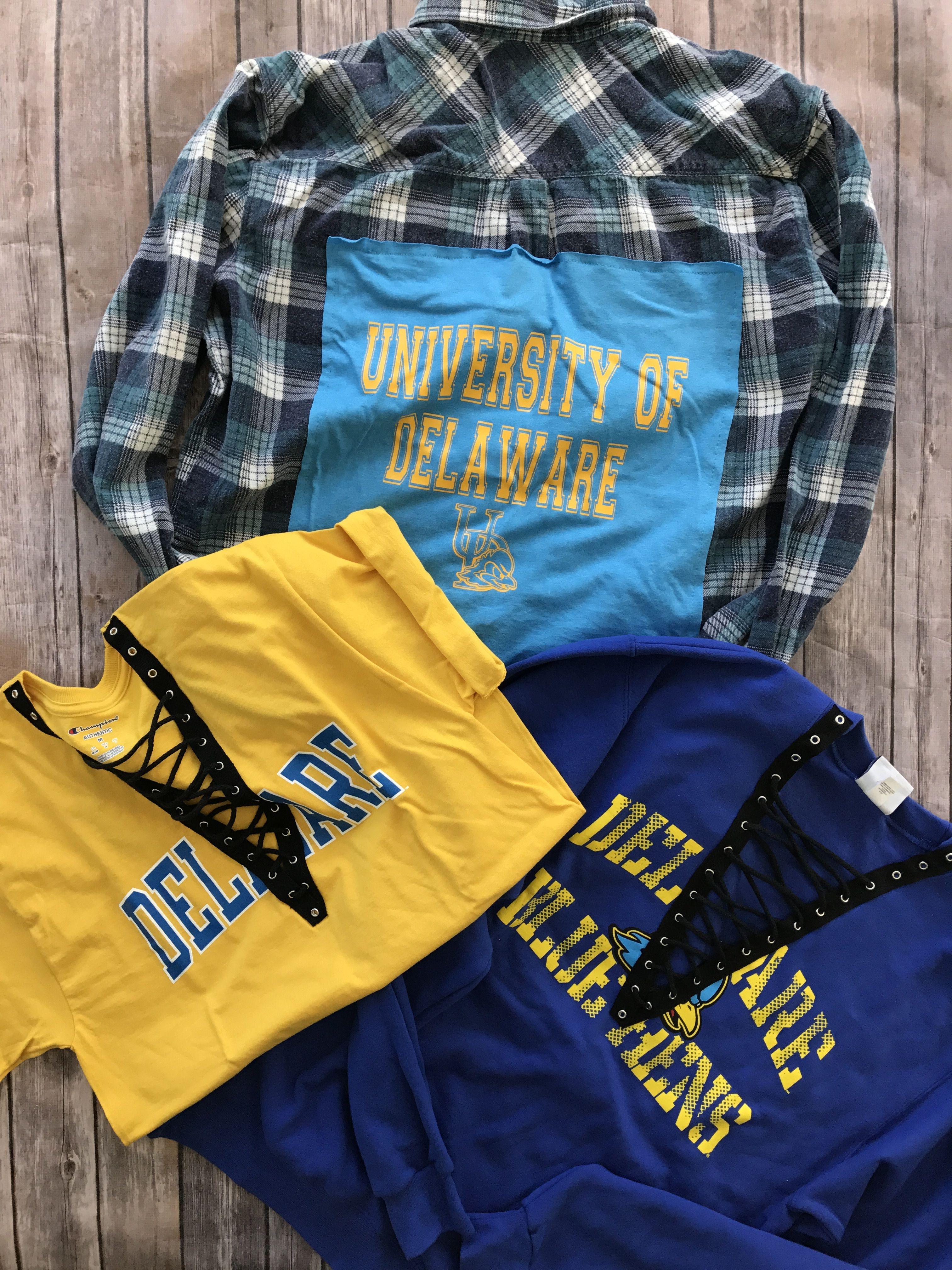 University of Delaware flannel sweatshirt and tee  University of
