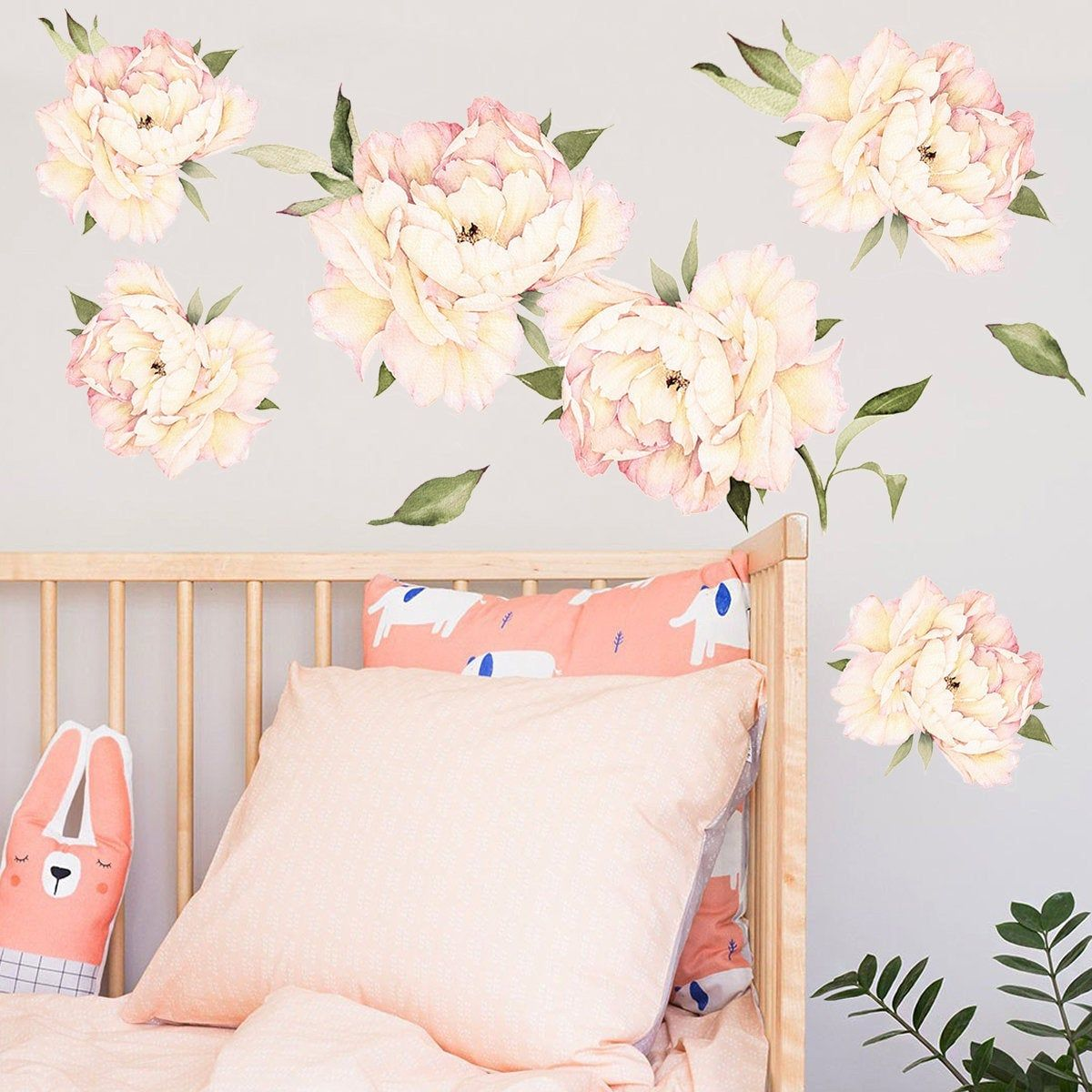 Floral Wall Decals Peony Flowers Wall Stickers Vintage Peach Watercolor Peony Wall Stickers Peel And Stick Removable Stickers Nursery Wall Decals Flower Wall Stickers Flower Wall