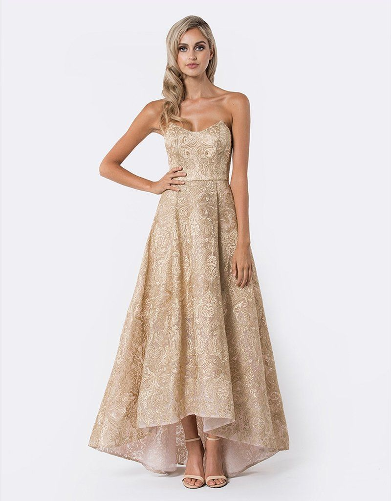 0b40af3448 Amber metallic jacquard ball gown