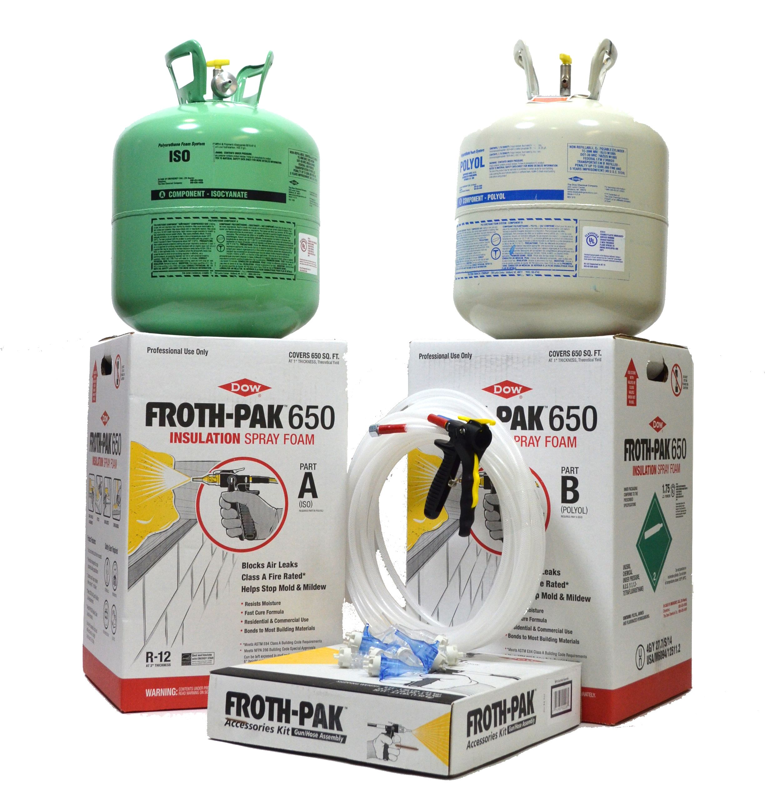 Spray Foam Insulation 4 Complete Kits Dow Froth Pak 650 Class A