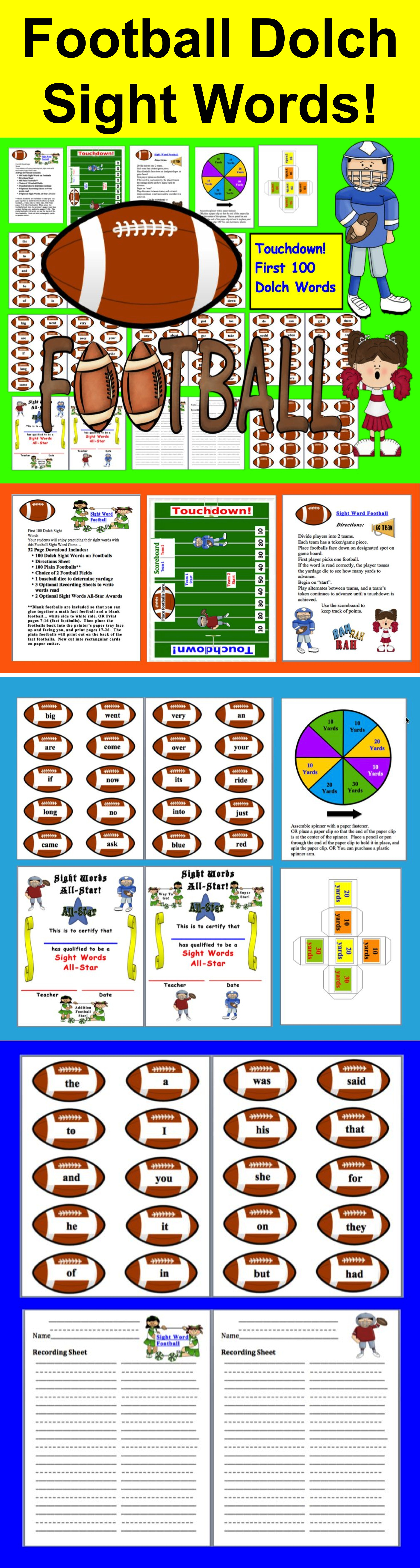 Football Sight Words Activities First 110 Dolch