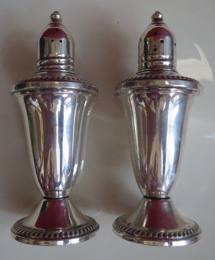 Sterling Silver Weighted Salt & Pepper Shakers Set Duchin Creation Vintage #DuchinCreation