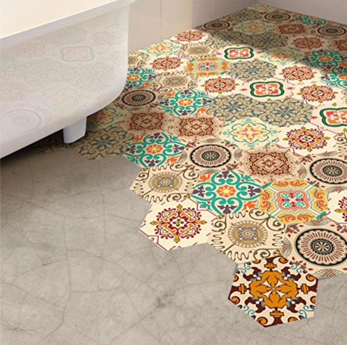 vinyl floor stickers hexagonal peel