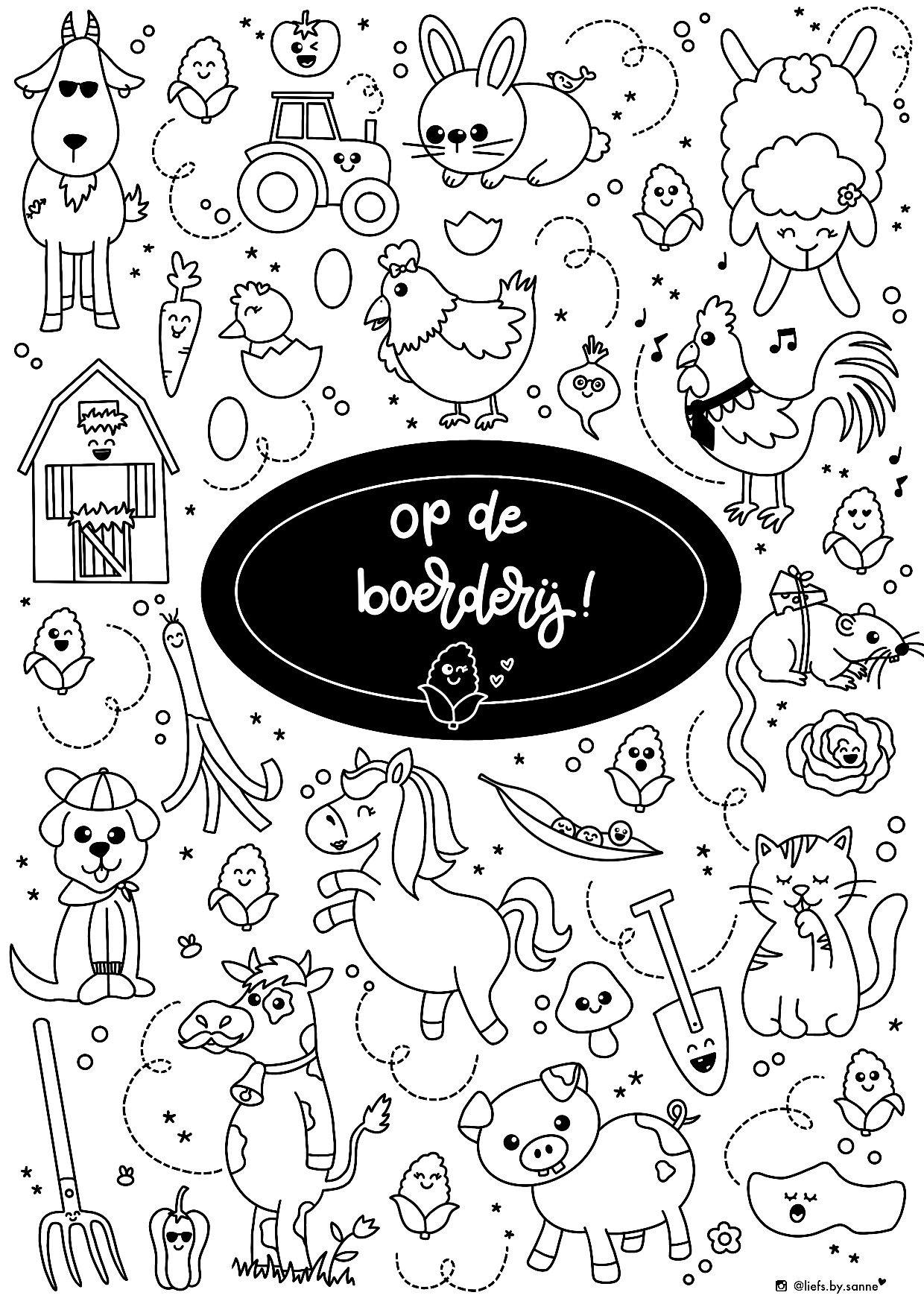 Boerderij Dieren Farm Animals Kleurplaat Coloring Coloringpage Thema Kleurplaten Dieren
