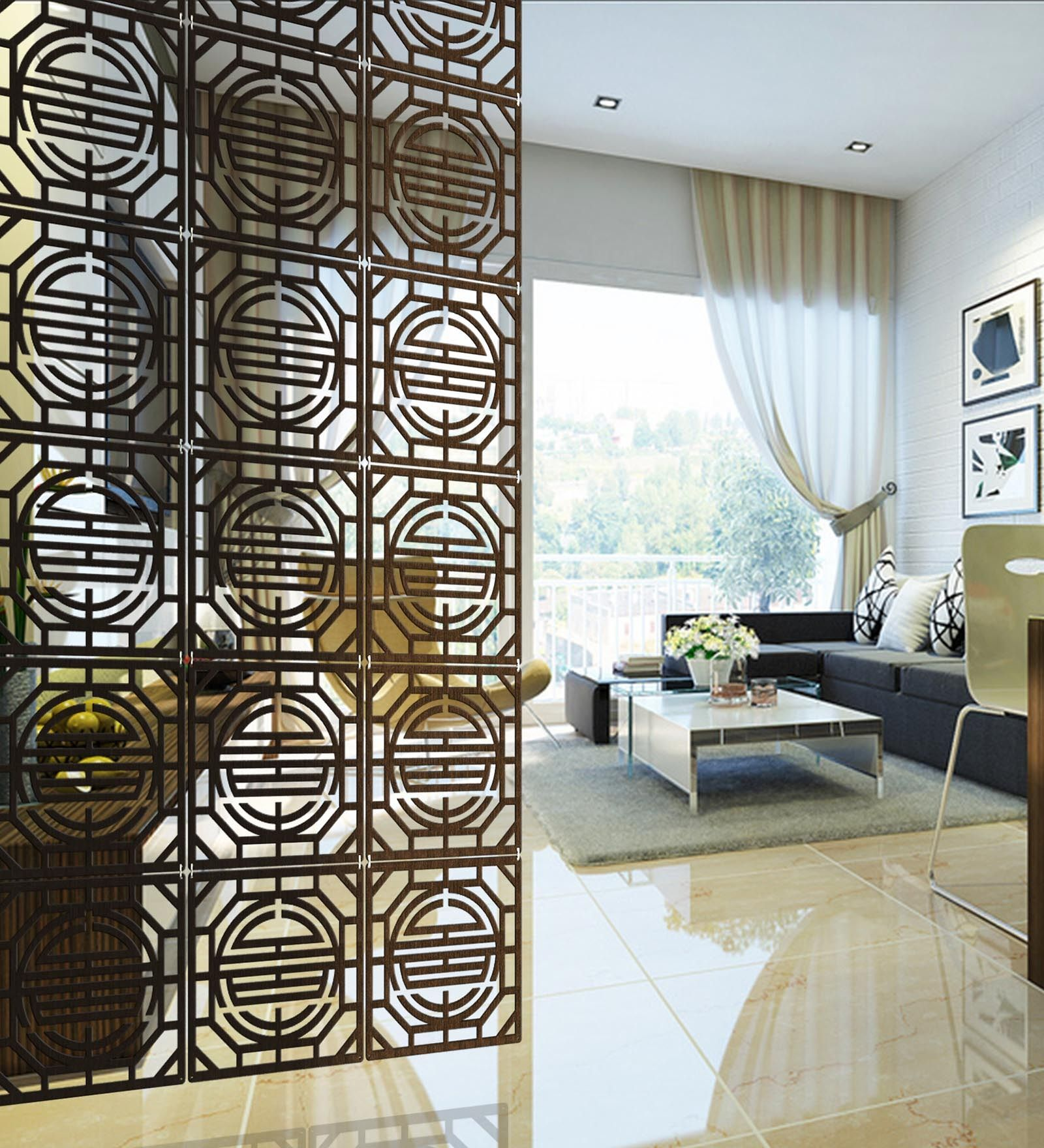 Buy Planet Decor Wenge Acrylic With Wooden Lamination Geometric Room Divider Online