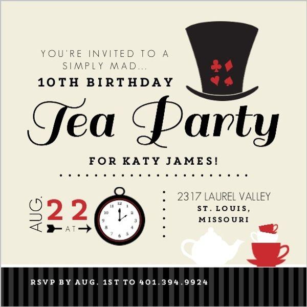 Tan Mad Hatter Tea Party Birthday Invitation Mad Hatter Tea Party Invitations Kids Tea Party Birthday Tea Party Invitations