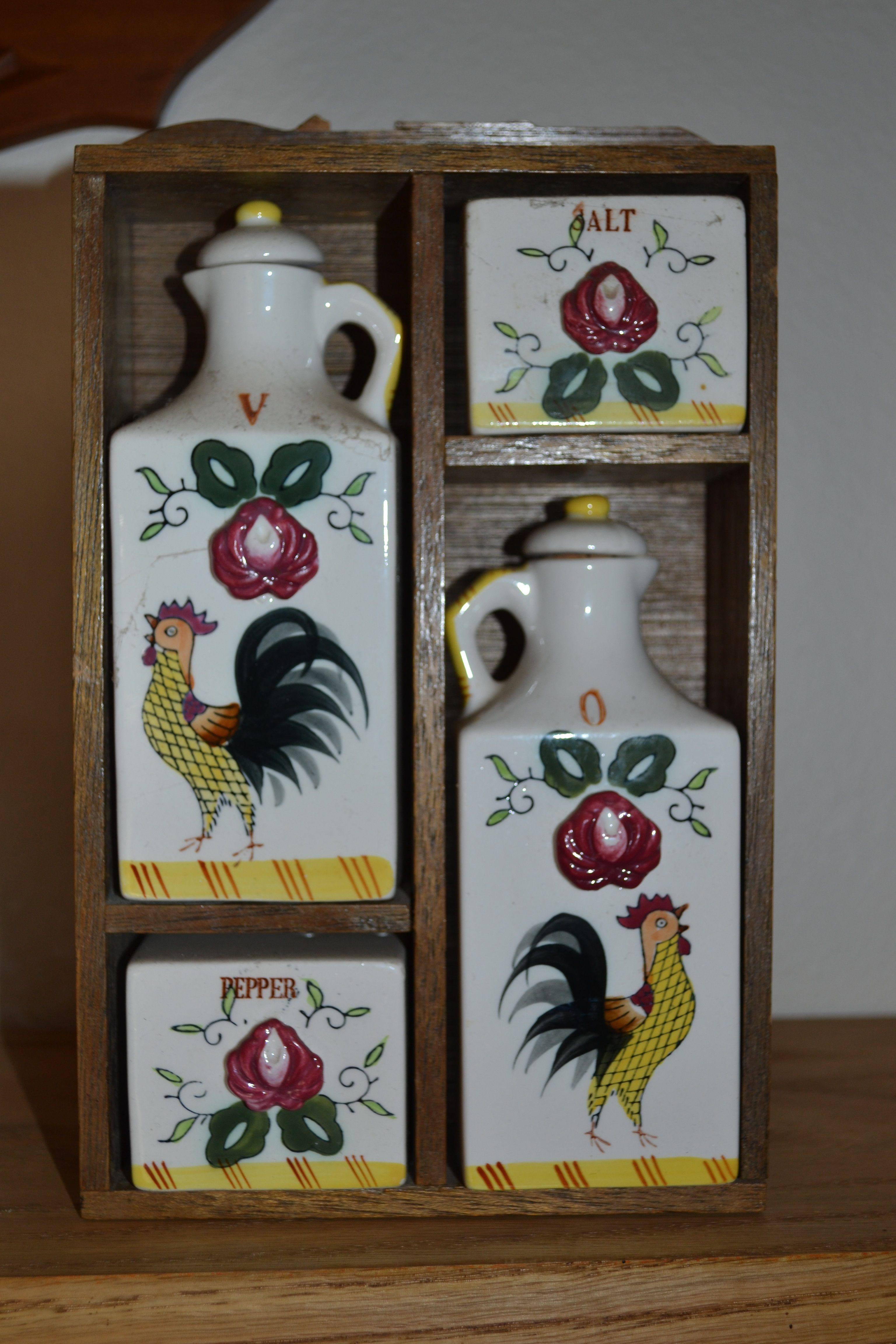 1950s spice set with oil /& vinegar bottles salt pepper 50s design ceramic cottage chic excellent condition retro kitchen wooden rack