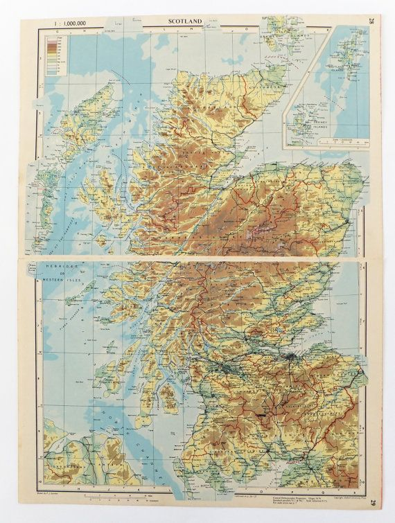 1951 Scotland Map £15 Maps Pinterest