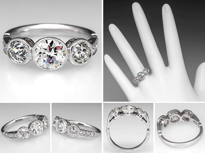 cfeaffd8a9559 Vintage Bezel Set Three Stone Diamond Engagement Ring Platinum ...