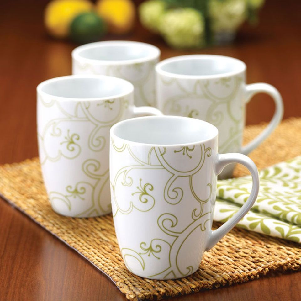 Rachael Ray Green Curly-Q Mug - Set of Four by Rachael Ray