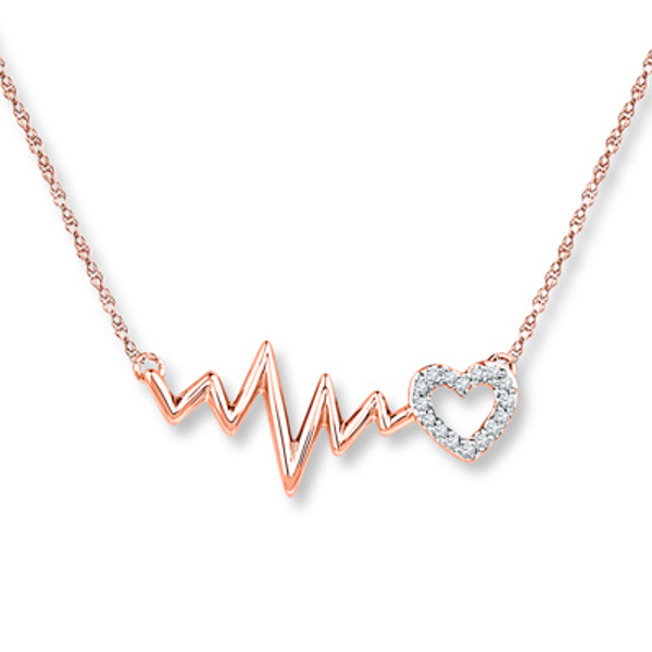 Heartbeat Necklace 1 20 Ct Tw Diamonds 10k Rose Gold In 2020 Heartbeat Necklace Kay Jewelers Necklaces Jewelry
