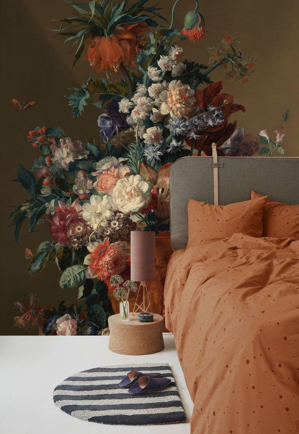 Dutch Flowers Painting Wall Mural, Vintage Dark Floral