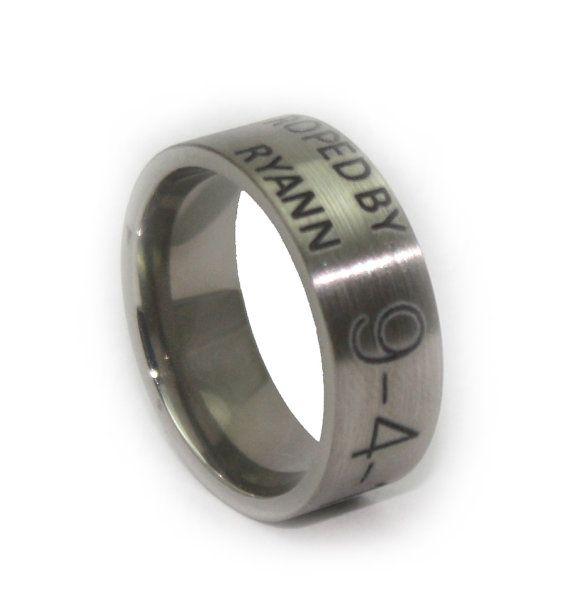 Custom Engraved Wedding Ring Duck Band Anniversary Gift