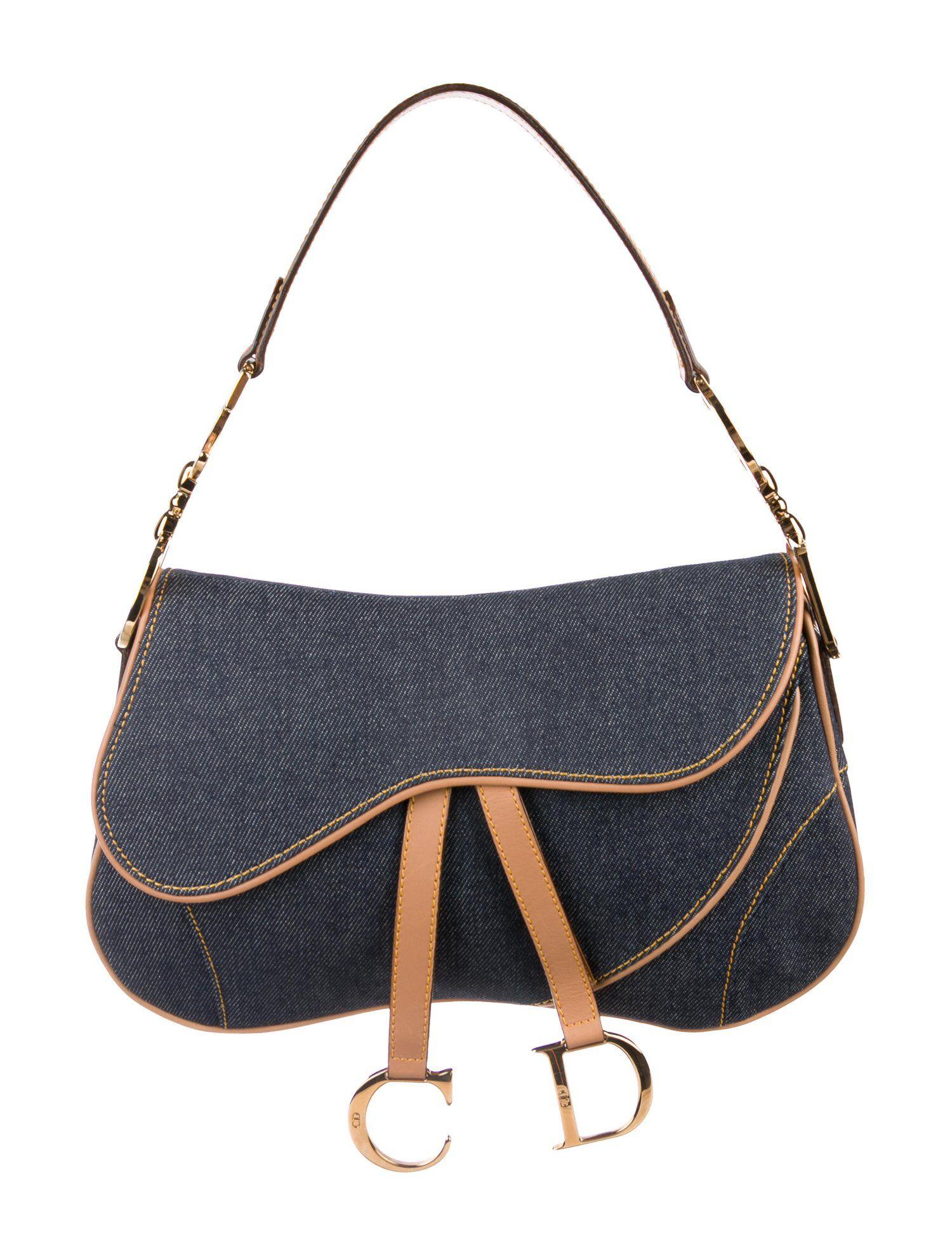 Christian Dior Denim Double Saddle Bag Denim Dior Christian Bags Saddle Bags Dior