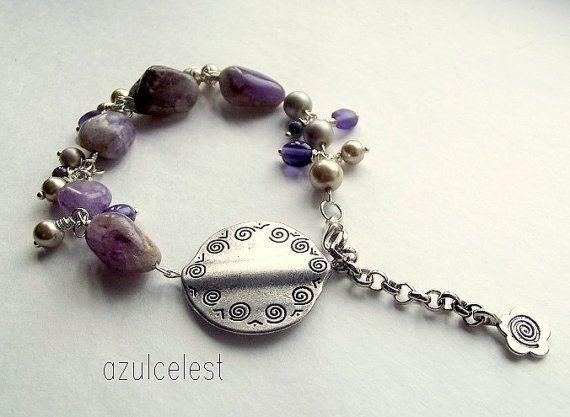 Sundance Style Bracelet Purple Amethyst Nuggets with by azulcelest, $18.00