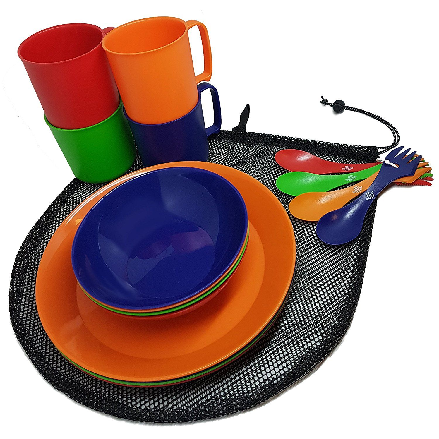Amazon Camping Mess Kit 4 Person Dinnerware Set With Mesh