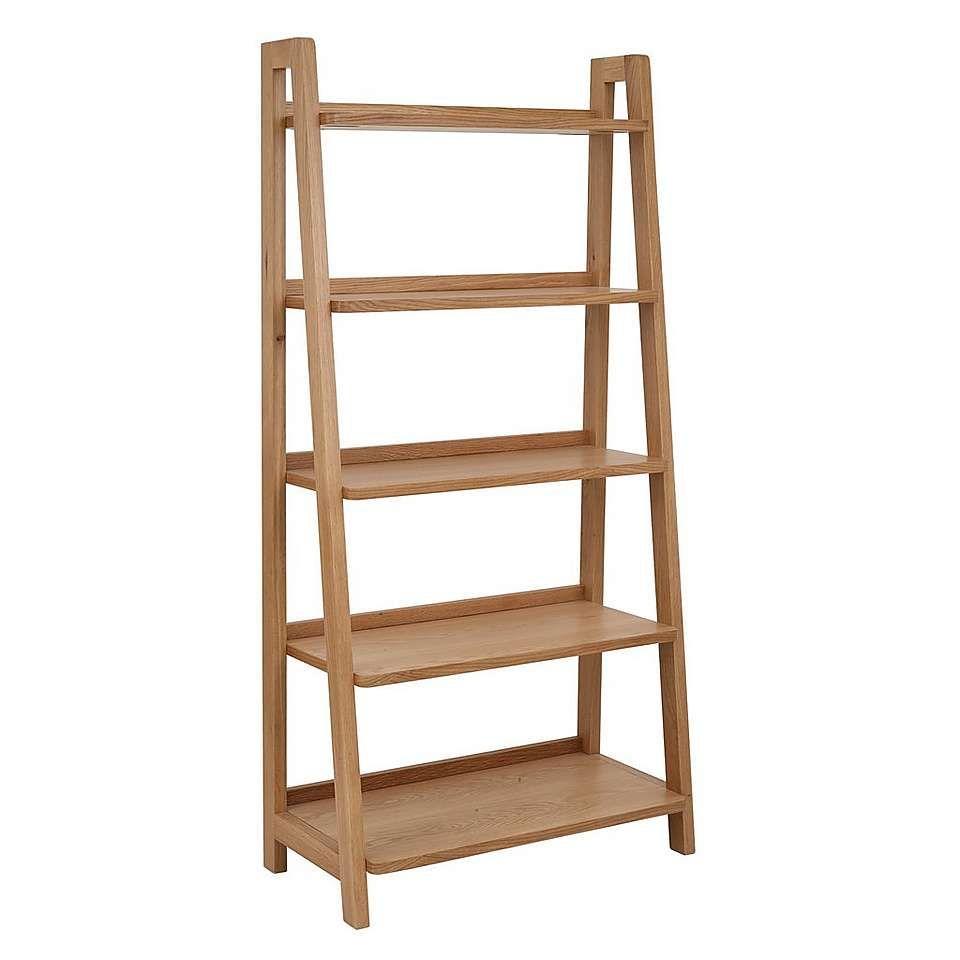 Jasper Oak Freestanding Ladder Bookcase Dunelm My House Now