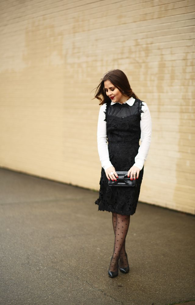 the best place to find a Christmas dress. - corilynn. White shirt+black lace dress+black plumetti tights+black pumps+black bow clutch+earrings. Christmas Party Outfit 2016