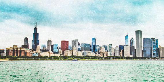 "Chicago Art, Fine Art Print, Panoramic, Skyline, Black and White Option, Urban Wall Art, Chicago Wall Decor, Poster - ""Chicago Skyline"" on Etsy, $20.00"