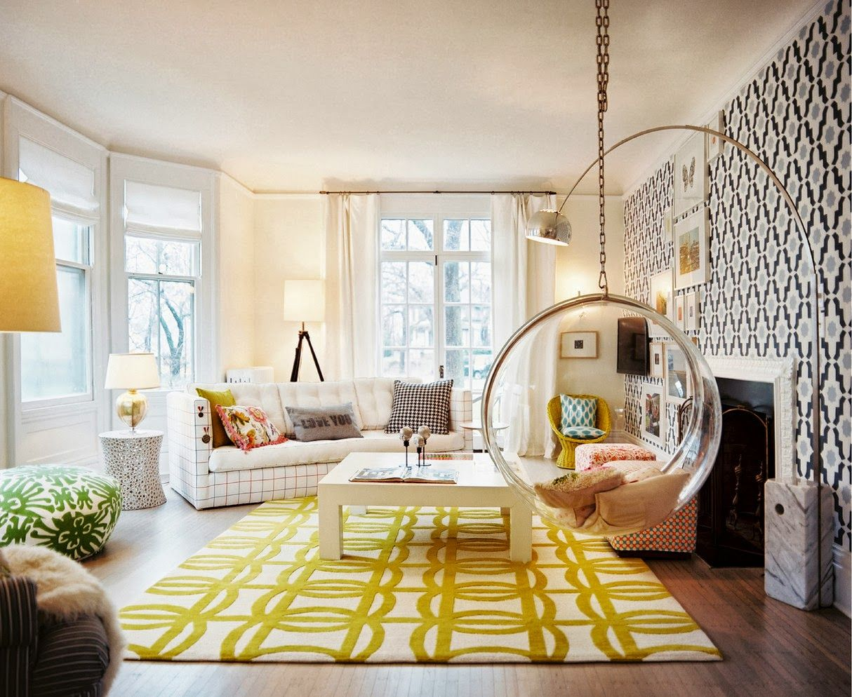 Cool Glass Hanging Chair Feat Yellow Area Rug Idea And Trendy Arc Floor  Lamp On Living