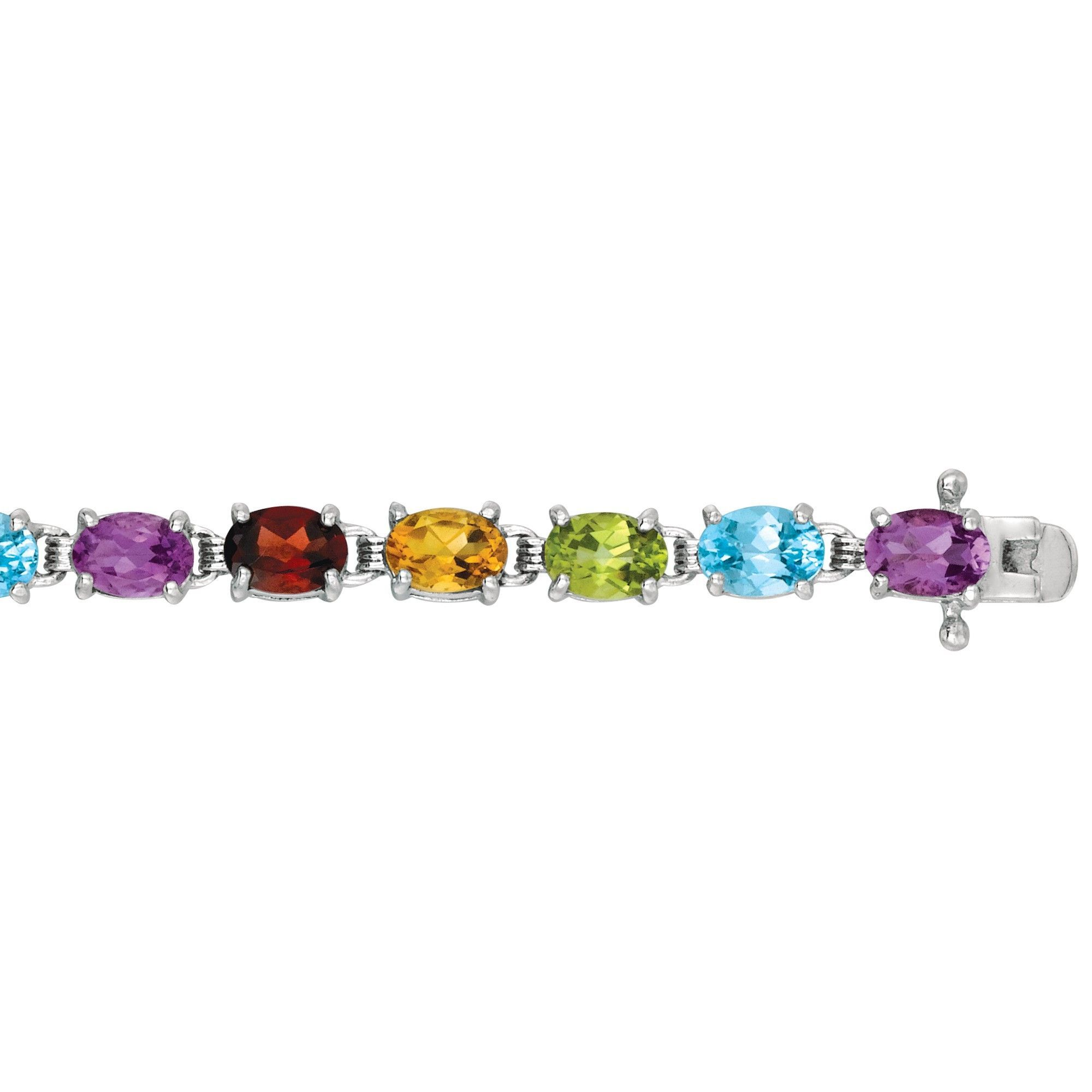 Rhodium Finish Bracelet with 5x3 mm Multi Color Stone